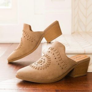 Qupid Montana-48 Warm Taupe Cut Out Mules